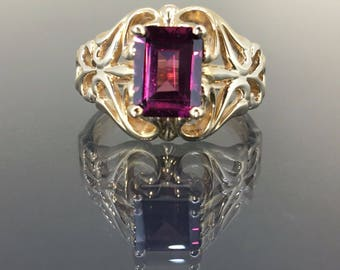 14k Yellow gold Natural Pink Rose Tourmaline Victorian Solitaire Ring 1.82ct