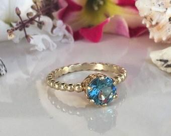 20% off-SALE!!! Blue Topaz Ring - London Blue Topaz - Gold Ring - December Ring - Gemstone Ring - Prong Ring - Topaz Jewelry