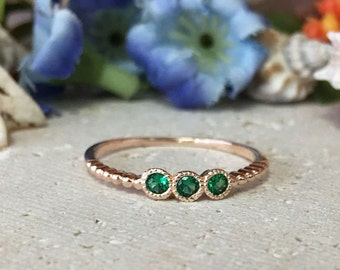 20% off- SALE!! Triple Gemstones Ring - Emerald Ring - May Birthstone - Tiny Ring - Slim Stack Ring - Green Ring - Dainty Ring - Simple Ring