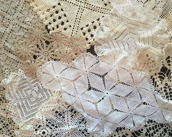 Lot of 26 Vintage Crochet Doilies - White and Off-White A5