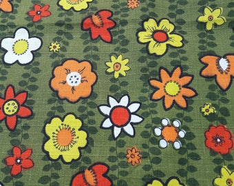 60's Bright Floral Flower Power Bark Cloth Fabric 2.9 Metres