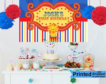 Circus Party Personalized Photo Backdrop - Circus Birthday Cake Table Backdrop - First Birthday Photo Booth Backdrop
