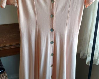 Vintage 90s/ Blush Pink Button Front Short Sleeved Maxi Dress