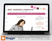 Instant Download: Premade Blogger Template // Bright Bunting Template - Mrs. Sanders Style 4