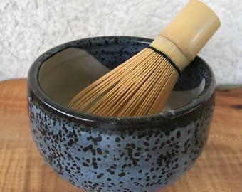 Matcha Chawan Tea Bowl / Shino Blue Black / Rice Soup Eating Bowl