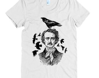 Women's Poe Raven Tee - S M L XL Ladies - Black Print, American Apparel T shirt, Raven Shirt, Raven Tee, Edgar Allan Poe, Horror - 15 Colors
