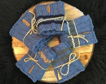 Denim Boot Cuffs/ Hand Knit boot cuffs/ Boot toppers/ Leg warmers/ Unisex boot cuffs/ boot socks
