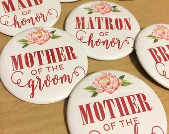 Ivory and Deep Rose Peony - Bridal Shower/Bachelorette Pins (pack of 7)