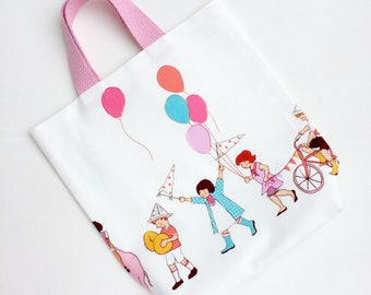 Birthday Bag, Birthday Party Parade, Tote Bags for Kids, Birthday Tote Bag, Birthday Goodie Bag, Reusable Bag, Girls Tote Bag, Small Tote