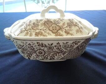 Aesthetic Movement, Christopher Dresser, HAMPDEN, Covered Dish, 1850-1910, brown transferware, floral, japanese,