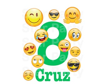 Personalized Emoji, Emoticon, Emoji Party, Emoji Birthday, T shirt Printable Iron On Transfer Sticker custom Birthday Shirt