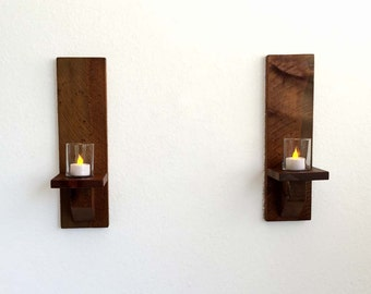 Rustic Wood Wall Sconces, Candle Sconces, Wall Candle Holders (Set of 2) Great Gift Idea!