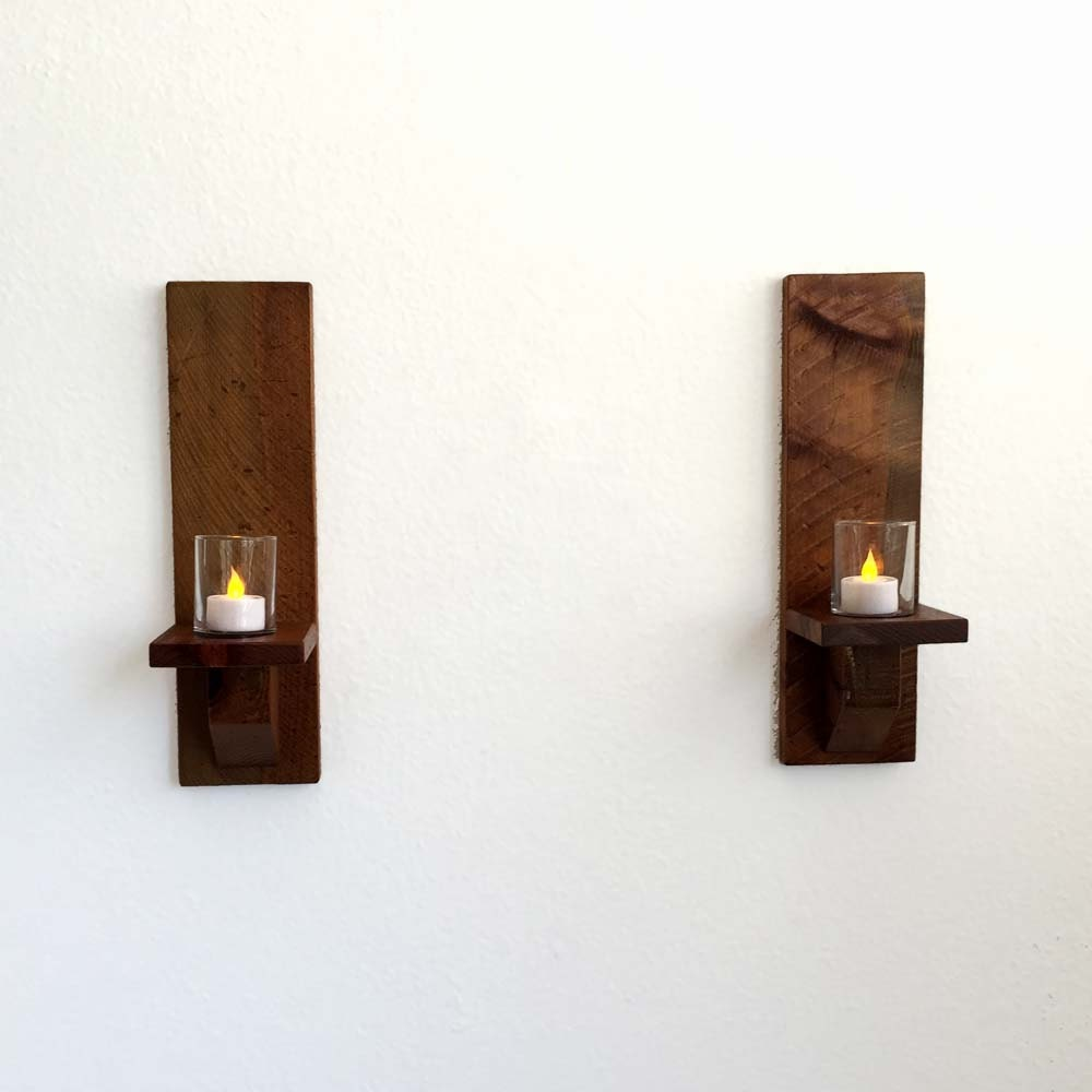 Wall Sconces Rustic: Rustic Wood Wall Sconces Candle Sconces Wall Candle Holders