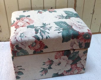 Midcentury ottoman / barkcloth / small trunk / 50's or 60's