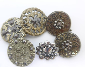 Antique Vintage Pierced Glittering Cut Steel Metal Pierced Button x 6