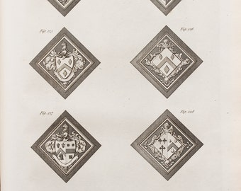 1786 Antique Heraldry Print, Georgian Copper Plate Engraving, Black and White. Coats of Arms, Hatchment
