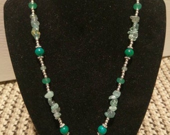 Green Druzy and Stone Necklace