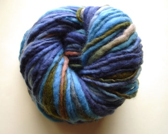 Ocean Twilight--Handspun, Hand Dyed Polwarth Yarn, Single ply, 4.4 oz, 116 yds