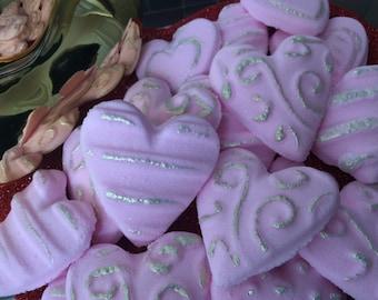Raspberry Cabernet Variety Heart Shaped Bath Bombs (Box of 24)