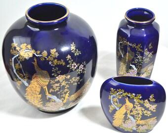 Vintage Beautiful Japanese Asian Oriental Flower Porcelain Vase Set (3)