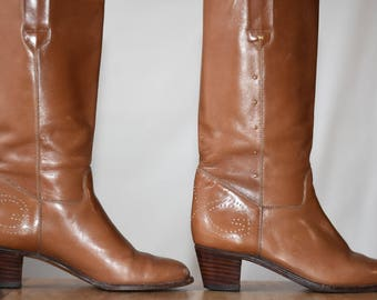 Vintage Gucci Leather Boots Brown Leather