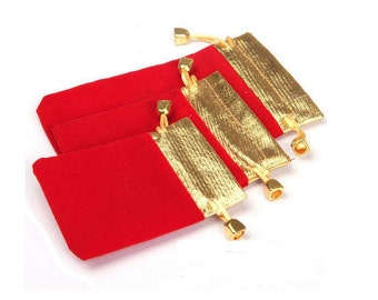 50pcs/lot 3.1 in x 3.9 in— 4.3 in x 16.6 in A variety of specifications of the jewelry Bag - Gold top Velveteen Bag ,  red color YTF03