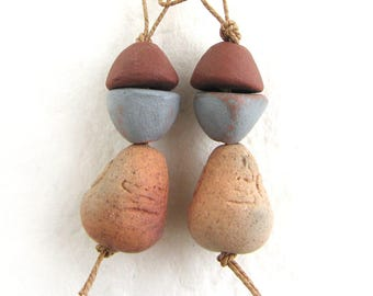 Teardrop Beads for Earrings - antique style beads, aged beads, hand modeled beads, unique design, earthy beads, natural, craft beads