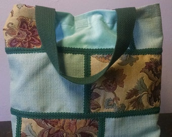 TURQUOISE PATCHWORK one-of-a-kind TOTE