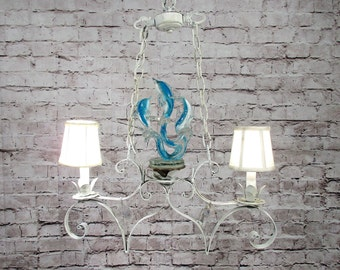 Vintage Chandelier White Scrolled Blue Murano Dolphins 1960's Rewired CHIC