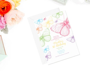 Rainbow Butterfly Birthday Invitation | Butterfly Birthday Invite | Butterfly Invitation | Garden Party Invitation ! Tea Invite