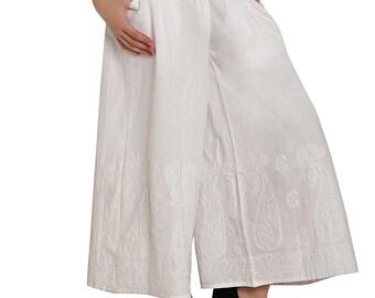 Indiankala4u Ladies women harem pants trousers / salwar/ palazzo chikankari hand  embroidered  for  / ladies / girls  white