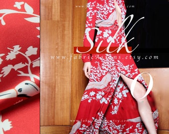 Red Silk Fabric White Crane fabric Asian Fabric - vente tissu chinois