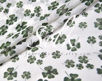 lucky clover Green Silk Fabric