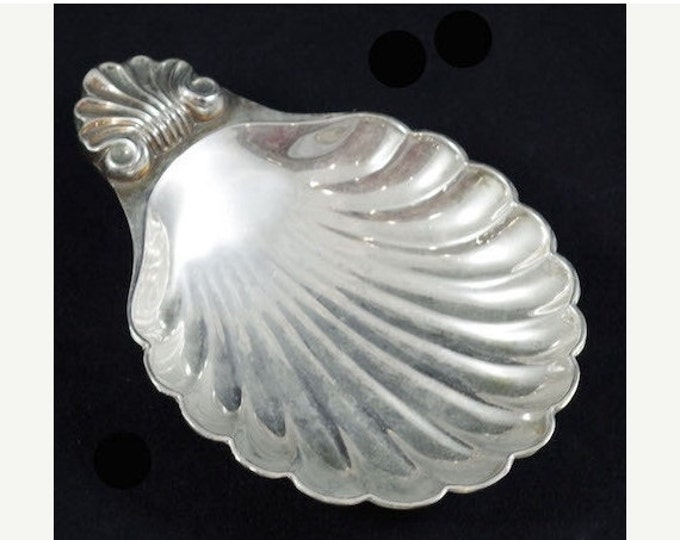 Storewide 25% Off SALE Vintage Silver Plate Shell Shaped Serving Display Dish with Intricate Designed Handle Crafted in England by Seba.