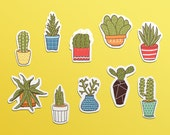 Cactus and Succulents Sticker Set - 10 Waterproof Vinyl Stickers - handdrawn, illustration, party favor, gift, stationery, plants, art