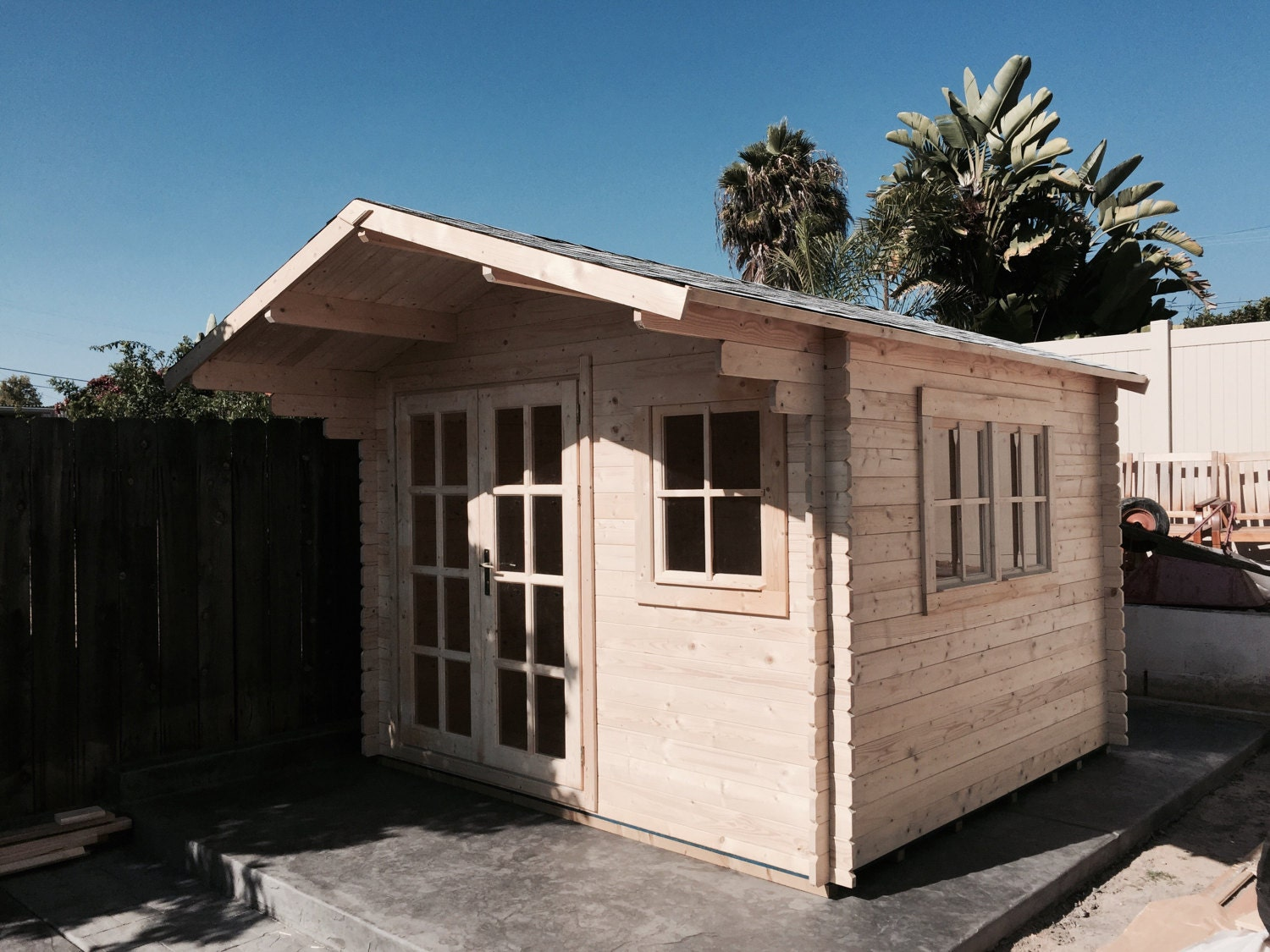 Pre fabricated natural wood cabin kits can be used as for Shed guest house kit