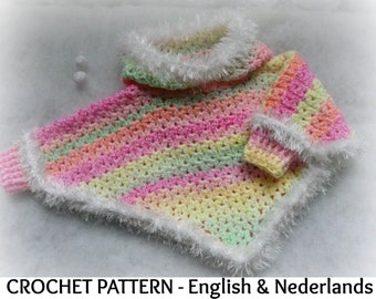 English + Dutch Crochet Pattern Baby Poncho with hood and cuffs 0-18 months
