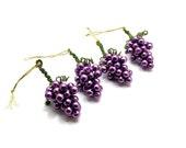 Grape Cluster Ornaments, Grape Tone, Set of 4