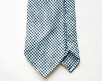 Light blue check wool hand rolled untipped tie