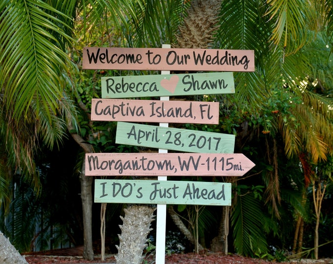 Welcome to our wedding directional sign. I Do's Rustic beach wedding decor. Wedding Gift for couple idea.