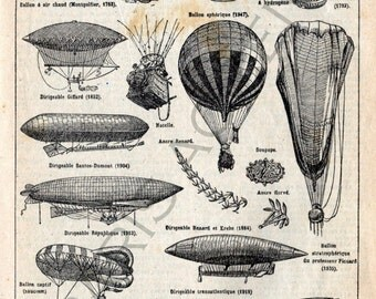 Instant digital download of 'Aéronautique' from 'Nouveau Petit Larousse Illustré' a French Encyclopedia. Useful teaching aid, Dated 1952