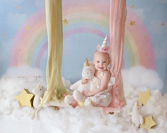Pastel Rainbow Photography Backdrop Vinyl Canvas, Unicorn Birthday Backdrop Clouds, Photography Background Girls Photo Backdrop WHM141