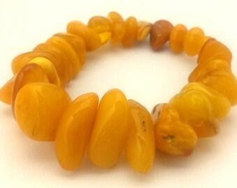 Amber Baltic Bracelet Genuine Natural Antique 29.77 Gr Egg Yolk Yellow Color