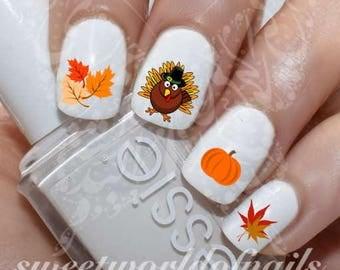 Thanksgiving Nail Art Turkey Autumn Leaves Pumpkin Water Decals