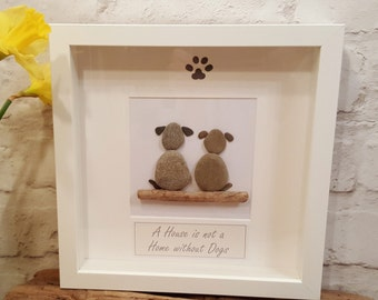 A House is not a Home without Dogs - Cornish Pebble Art Picture