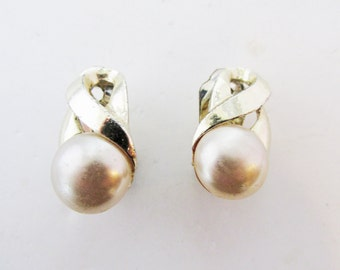 Charming Vintage Late 1950s Signed Marvella Faux Pearl Cabochon Earrings