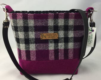 A classic Harris tweed bag in a pink and black check Harris Tweed shoulder bag, Shoulder bag/ crossbody