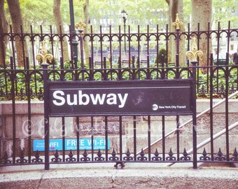New York City Subway, subway sign photo, subway photo, New York City Photography, NYC photography, urban decor, New York City decor