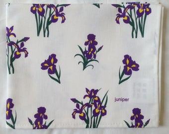Purple iris tea towel - purple iris kitchen towel - floral tea towel - in 100% cotton