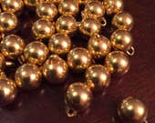 8 mm silver or gold color true ball buttons with metal shank, set of 10